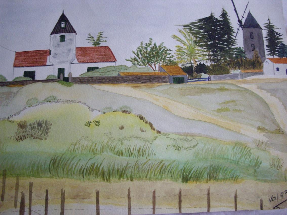 Moulins Guérinière, Noirmoutier, Aquarelle
