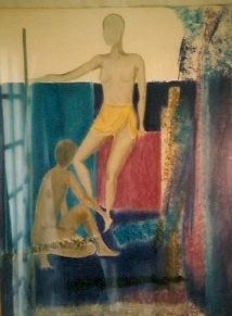 Pastel, femme au bain