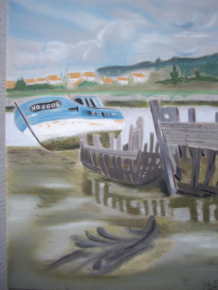 cimetière de bateaux, Noirmoutier, pastel sec