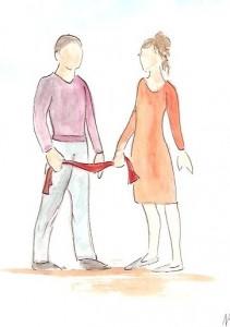relation, aquarelle homme femme, amour