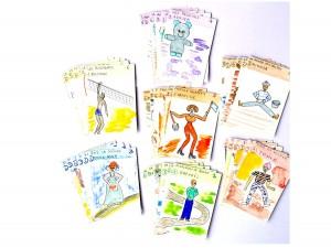 jeu 7 familles, création jeu, Aquarelle cartes à jouer,